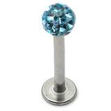 Smooth Glitzy Ball Labrets 1.6mm gauge 4mm ball 1.6mm, 8mm, 4mm ball, Light Blue