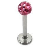 Smooth Glitzy Ball Labrets 1.6mm gauge 4mm ball 1.6mm, 10mm, 4mm ball, Pink