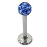 Smooth Glitzy Ball Labrets 1.6mm gauge 4mm ball 1.6mm, 10mm, 4mm ball, Sapphire Blue