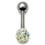 Smooth Glitzy Ball Barbell Single Ended with 4mm balls 1.6mm, 10mm, 4mm, Crystal AB (Rainbow)