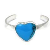 Silver Toe Ring Heart. Blue Turquoise