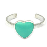 Silver Toe Ring Heart. Green Turquoise