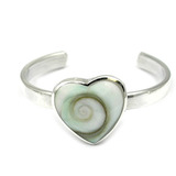 Silver Toe Ring Heart. Shivas Eye Shell