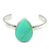Silver Toe Ring Teardrop. Green Turquoise