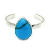 Silver Toe Ring Teardrop. Blue Turquoise