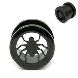 Black Steel Spider Screw Flesh Tunnel 10