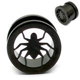 Black Steel Spider Screw Flesh Tunnel 12