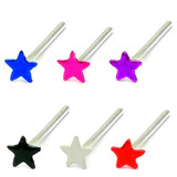Silver Stud Boxes - Coloured Ball or Star Nose Studs ST-CS1:- 6 coloured stars - 1 of each colour (30% discount)
