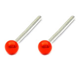 Silver Stud Boxes - Coloured Ball or Star Nose Studs ST-CB1:- Pair of red coloured balls - 1 of each colour
