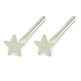 Silver Stud Boxes - Coloured Ball or Star Nose Studs ST-CS1:- Pair of white coloured stars - 1 of each colour