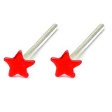 Silver Stud Boxes - Coloured Ball or Star Nose Studs ST-CS1:- Pair of red coloured stars - 1 of each colour