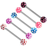 Acrylic Multi-Heart Barbell (NEW) 1.6mm, 16mm, 5mm, Pack of all 5 shown