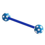 Acrylic Multi-Star Flex Barbell (NEW) 1.6mm, 14mm (most popular length), 6mm, Blue