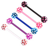 Acrylic Multi-Heart Flex Barbell (NEW) 1.6mm, 14mm (most popular length), 6mm, Pack of all 5 shown