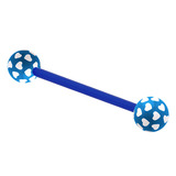 Acrylic Multi-Heart Flex Barbell (NEW) 1.6mm, 14mm (most popular length), 6mm, Blue