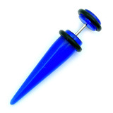 Acrylic Plain Fake Stretchers Blue / Small: Acrylic straight fake expander. Apparent max gauge is 4mm.