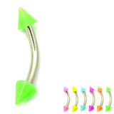 Acrylic Neon Cone Micro Curved Barbell 1.2mm 1.2mm x 8mm / Green