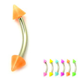 Acrylic Neon Cone Micro Curved Barbell 1.2mm 1.2mm x 10mm / Orange