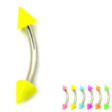 Acrylic Neon Cone Micro Curved Barbell 1.2mm 1.2mm x 10mm / Yellow