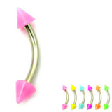 Acrylic Neon Cone Micro Curved Barbell 1.2mm 1.2mm x 12mm / Pink