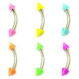 Acrylic Neon Cone Micro Curved Barbell 1.2mm 1.2mm x 12mm / Mixed pack of 6 as shown