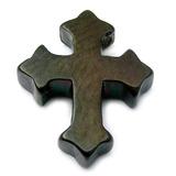 Black Steel Threaded Gothic Cross 1.6mm gauge, width is 9.5mm.