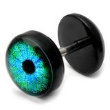 Acrylic Logo Fake Plug 1.2mm, 5mm, 8mm, Cyber Eye (Blue) Logo