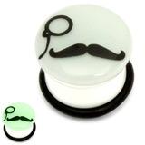 Acrylic Monocle Moustache Plug Glow in the Dark 12