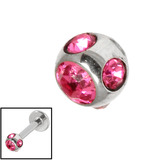 Steel Multi-gem Jewelled Ball 1.6mm Pink / 4mm