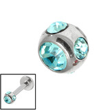 Steel Multi-gem Jewelled Ball 1.6mm Light Blue / 4mm