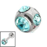 Steel Multi-Gem Jewelled Ball 1.6mm 1.6mm, 5mm, Light Blue