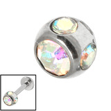 Steel Multi-gem Jewelled Ball 1.6mm Crystal AB / 5mm