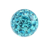 Smooth Glitzy Threaded Balls - one only 1.2mm, 3mm, Turquoise