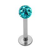 Smooth Glitzy Ball Labrets 1.2mm gauge 1.2mm, 6mm 3mm, Turquoise