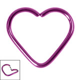 Titanium Coated Steel Continuous Heart Rings 1.2mm, 10mm, Purple