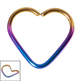 Titanium Coated Steel Continuous Heart Rings 1.2mm, 10mm, Rainbow