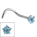 Steel Claw Set Jewelled Star Nose Studs 0.8mm, Light Blue