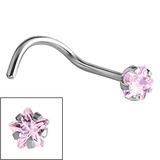 Steel Claw Set Jewelled Star Nose Studs 0.8mm, Light Pink