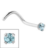 Steel Claw Set Jewelled Nose Studs 0.8 / 1.5mm Jewel, Light Blue