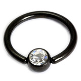 Black Steel Jewelled Ball Closure Ring (BCR) 1.6mm, 10mm