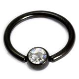 Black Steel Jewelled Ball Closure Ring (BCR) 1.6mm, 12mm