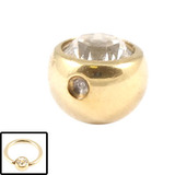 Zircon Steel Clip in Jewelled Balls (Gold colour PVD) 5mm / Crystal Clear