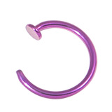 Titanium Coated Steel Open Nose Ring 1.2mm, 8mm, Purple