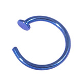 Titanium Coated Steel Open Nose Ring 0.8mm, 9mm, Blue