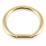 Zircon Steel Bar Closure Ring (Gold colour PVD) 1.6mm, 10mm