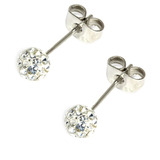 Smooth Glitzy Ball Earrings 5mm, Crystal Clear
