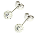 Smooth Glitzy Ball Earrings 6mm, Crystal Clear