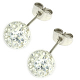 Smooth Glitzy Ball Earrings 8mm, Crystal Clear