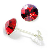 Silver Crystal Studs ST8 - ST9 - ST10 6mm Red (ST9)