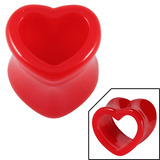Acrylic Heart Shaped Double Flared Eyelets 10 / Red